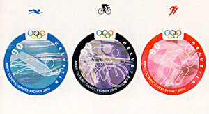 Olympic stamps come in all shapes and sizes. Switzerland issued a booklet of 3 round stamps for the Triathlon event at the 2000 Sydney Olympic Games.