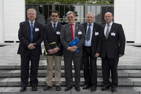 The first AICO Executive Board (l-r): Mark Maestrone (1st Vice President), Christophe Ait-Braham (Secretary), Roman Babut (President), Gianni Galeotti (2nd Vice President), Branislav Delej (Treasurer) on the steps of the IOC Museum, Lausanne, Switzerland, 22 May 2014. © IOC Arnaud Meylan