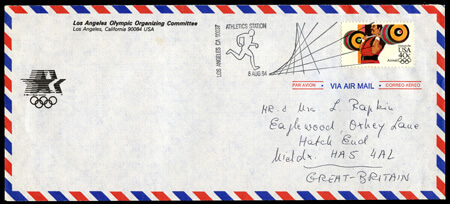 A Los Angeles Olympic Organizing Committee official stationery envelope is an unusual vehicle for the 1984 Olympic airmail stamp and special Olympic Venue postmark during the Games.