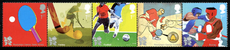 Royal Mail issued stamps in groups of 5 for each sport at London's 2012 Olympic Games. They can be collected in se-tenant (joined) strips of five or individually.