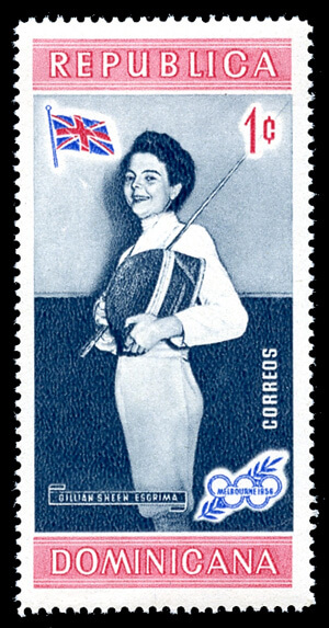 One of the first Olympic medalist stamps honors Great Britain fencer Gillian Sheen's 1956 fencing gold medal in the individual foil.