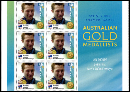 Ian Thorpe won his 400m freestyle swimming gold medal on 16 September 2000. Australia Post's gold medalist stamp was issued the next day.