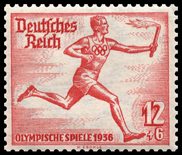 The German postal authority commemorated the first Olympic Torch relay for the Berlin Games.